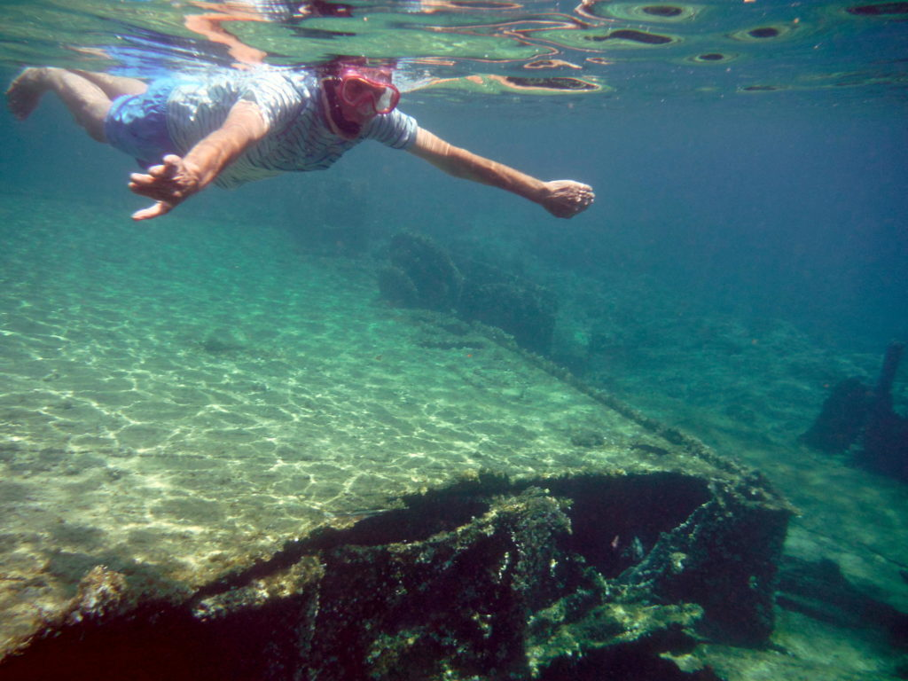 Swimming over the WWII shipwreck near Ancient Phalasarna