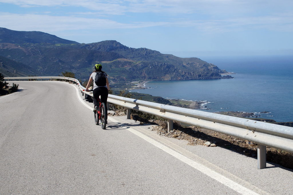 Electric bikes along West Crete's coast