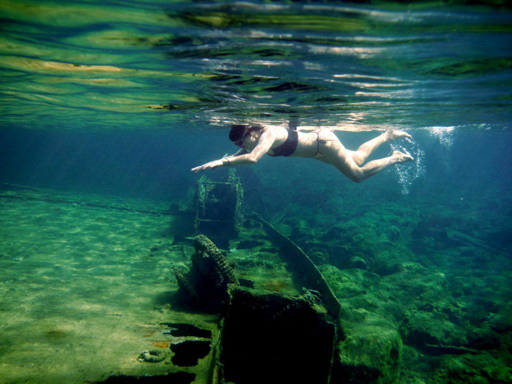 Snorkelling around the WWII shipwreck in Crete