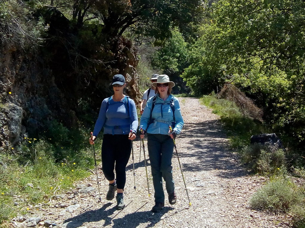 Nordic walking in the Cretan countryside