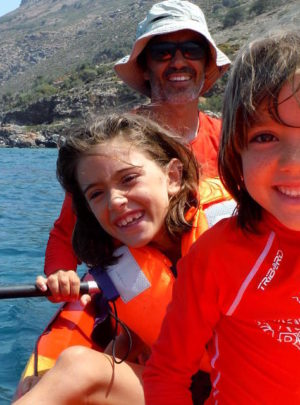 Kids kayaking Crete